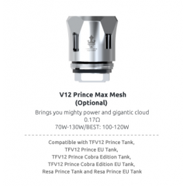Pack de 3 resistances Max Mesh 0.17ohm TFV12 Prince Smoktech