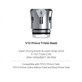 Pack de 3 resistances Triple Mesh 0.15ohm TFV12 Prince Smoktech