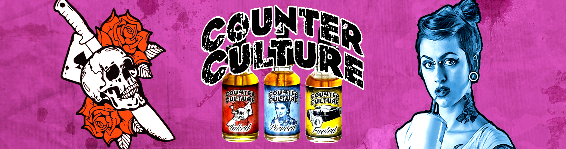 E-liquides Counter Culture : Pierced, Fueled et Inked